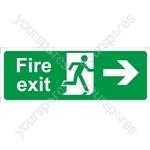 Fire Exit Arrow Right - Self Adhesive Vinyl - 150mm x 400mm