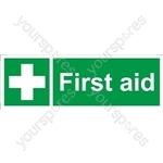 First Aid Sign - Self Adhesive Vinyl - 100mm x 300mm