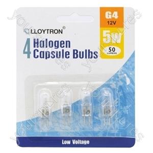4pc Blister Card G4 5w 12v Halogen Capsule Bulb