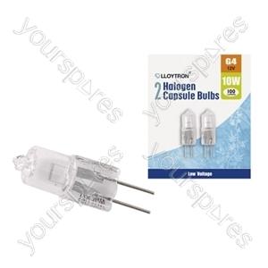 2pc Blister Card G4 10w 12v Halogen Capsule Bulb