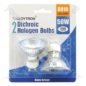 2pc Blister Card GU10 50w 240v Dichroic Halogen Bulb