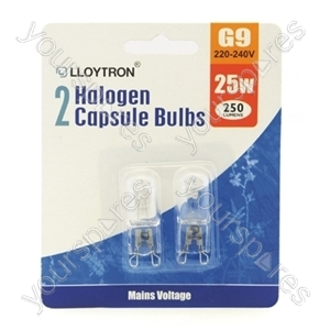 2pc Blister Card  G9 25w 240v Halogen Capsule Bulb