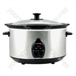 KitchenPerfected 3.5Ltr Oval Slow Cooker - Brushed Steel