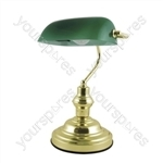 15'' 60w ''Advocate'' Bankers Desk Lamp - Brass / Green