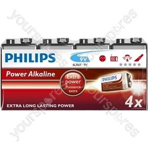 Philips 9v Power Alk 4pk (6lr61p4f/10)