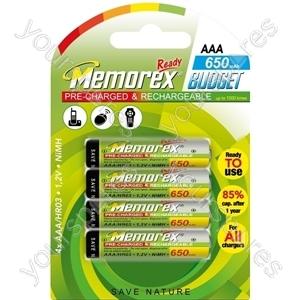 Memorex R03/aaa 650mah Ready 4pk