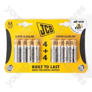 Jcb Lr03/aaa 4+4 Sup Alk Cdu 12pk