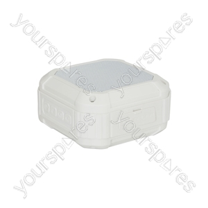 Water Resistant Portable Mini Bluetooth® Speaker with Microphone - White - WPS01-BTW