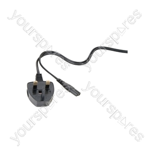Figure 8 Mains Lead with  3-Pin UK plug, 1.5m, black, bulk packed in 25s