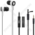 Rubberised Stereo Earphones with Hands-free - w/Mic Black & White