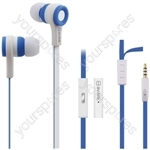 Rubberised Stereo Earphones with Hands-free - w/Mic Blue & White