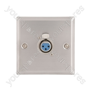 Steel AV Wallplate with XLR Socket - 3pin