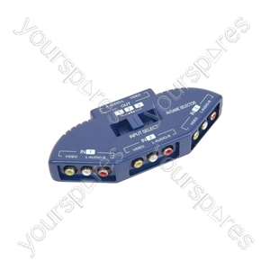 3 Way Audio/Video Input Selector - selector, 3-way, Blue - AD-AV31