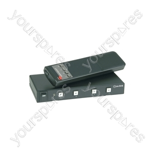 4:1 Stereo Audio Switcher with IR Remote Control - Way - AD-AUD41