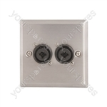 Steel AV Wallplate with 2 x XLR/Jack Combo Connectors - Socket