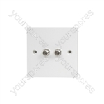Double Low Loss F Outlet - Wallplate 2 x SAT Bulk