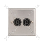 Steel AV Wallplates with 2 x Speaker Connectors - 4 Pole Socket