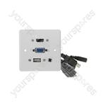 Multimedia Wallplate with HDMI, VGA, USB and 3.5mm Audio Sockets - HDMI+VGA+3.5mm+USB