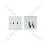 HDMI Double Steel Wallplate - x 2 White