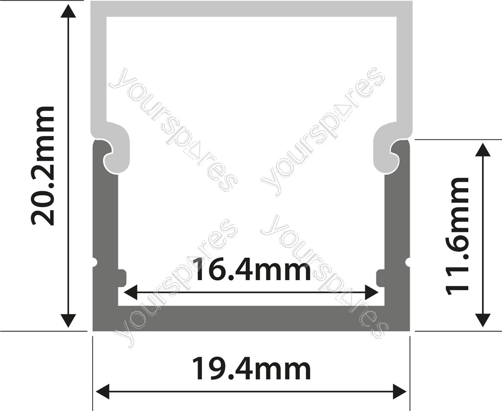 Aluminium LED Tape Profile - Box Section - 2m - AL2-B2020 by Lyyt