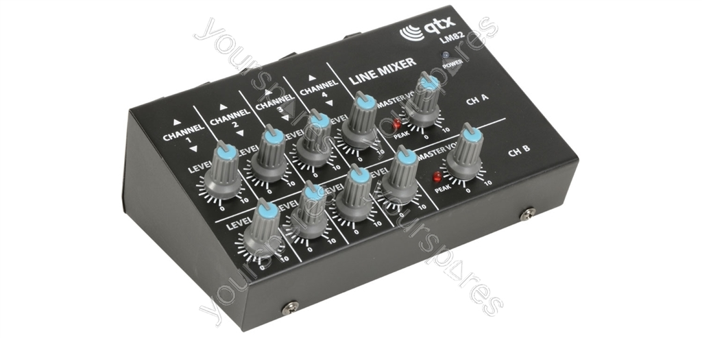 mini line level mixers 4 stereo channel instrument lm82 by qtx. Black Bedroom Furniture Sets. Home Design Ideas