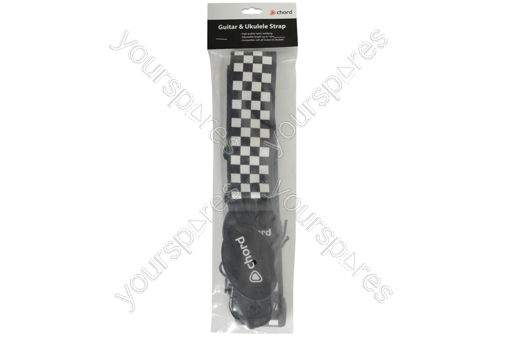 Webbing Guitar Straps - Black + White Chequered - STP-CHQ by Chord
