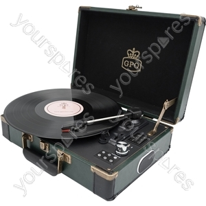 Ambassador - Retro Style Briefcase Turntable - Green/Black