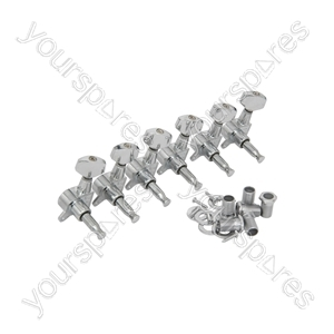 Tuning Machine Heads - Set of 6-in-line - Tuners RH CR - TUNERS-6RH-CR