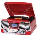 Memphis - Vinyl Turntable, MP3 Player, FM Radio & CD Deck - Red