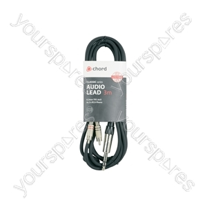Classic 6.3mm TRS Jack to 2 x RCA Phono Leads - 6.35mm-RCA 3.0m - S6J-2R300