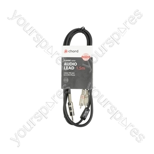Classic 3.5mm TRS Jack to 2 x RCA Phono Leads - 3.5mm-RCA 1.5m - S3J-2R150