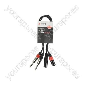 Classic 2 x 6.3mm Mono Jack to 2 XLRM Leads - XLRM-2 0.75m - 26J-2XM075