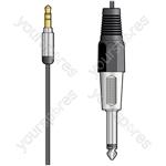 Classic Audio Lead 3.5mm Stereo Jack Plug -  6.3mm Mono Jack Plug - 1.5m - MP3-JK