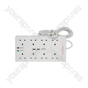 8 Gang Extension Lead with Surge Protection and 2 USB Chargers 1000mA - & dual