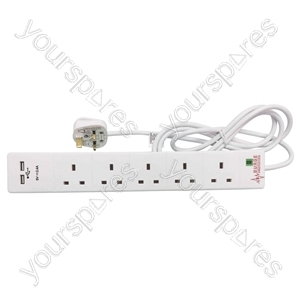 5 Gang Extension Lead with Surge Protection and Dual USB Ports - Protected 2m