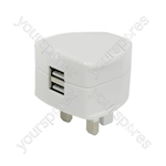 Twin Compact USB Mains Charger 2.4A - USB-UK224