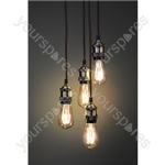 Quad E27 Pendant Cordsets - Antique Brass - 4P-E27-ABR
