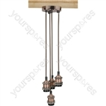 Quad E27 Pendant Cordsets - Antique Copper - 4P-E27-ACP