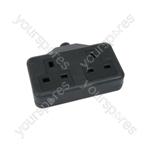 Rubber 2 Gang Trailing Sockets - 13A extension socket, Black