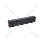 4 Gang Trailing Socket - 13A with neon