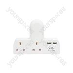 2 Way UK Mains Adaptor with Dual USB Ports - Plug-in 2-Way