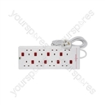 8 Gang Extension Lead with Surge Protection and 8 Neon Switches - 13A anti-surge