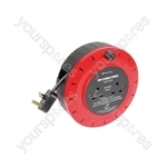 Mains Extension Cable Reel - 2-way reel, 6.0m