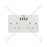 2-Gang UK Mains Socket with Four USB Ports - 4 4.8A