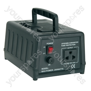 Step-down Voltage Converters 240V - 120V - (UK version) down230 120Vac converter, 200W - SDVC-200