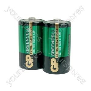 GP Greencell Zinc Chloride Batteries - batteries, D, 1.5V, packed 2 per blister