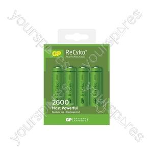 GP Recyko+ NiMH Rechargeable Batteries - 2600 AA (Card of 4)