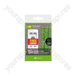 GP Recyko+ USB Charger Value Pack with 2 x AA + 2 x AAA Batteries