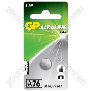 LR44 (A76) Alkaline Button Cell - 125mAh - cell, 1.5V/ LR44, piece per blister