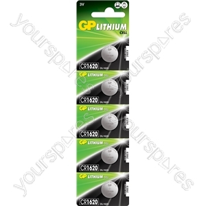 Lithium Button Cells - CR1620, 3V, 78mAh, 2.0x16.0mmØ, 5pc/card
